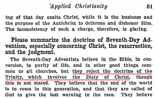 SDA Did Not Believe In Trinity in 1913